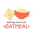 cute happy funny oatmeal bowl vector image vector image