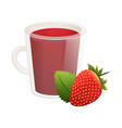 delicious natural tea with strawberries in a vector image vector image