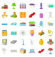electricity tower icons set cartoon style vector image vector image