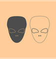 extraterrestrial alien face or head dark grey set vector image vector image