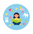 girl reading abc book concept teaching reading vector image vector image