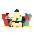 girlfriends talking at cafe with coffee cups in vector image