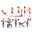 gym exercises body pump workout set vector image vector image