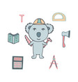 hand-drawn koala the civil engineer with the axe vector image