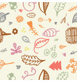 hand drawn seamless romantic floral pattern vector image vector image