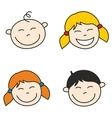 happy kids and bahand drawn face vector image