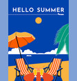 hello summer travel poster sunny day beach sea vector image