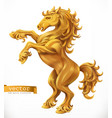 horse gold emblem 3d icon vector image vector image