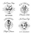 ice cream sketch badges vector image vector image