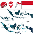 Indonesian map with named divisions vector image vector image