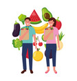 man and woman with bag grocery healthy food vector image vector image