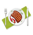 meat steak at with fork vector image vector image