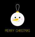 merry christmas ball toy hanging snowman face vector image