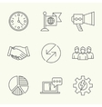 Modern line icons of developing startup strategy vector image