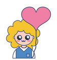 nice boy with uniform clothes and heart balloon vector image vector image