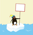 Penguin on an ice floe with a poster and a cap vector image vector image