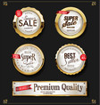 retro vintage shiny golden labels collection vector image vector image