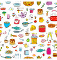 seamless background meal and ware in doodle style vector image