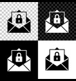 secure mail icon isolated on black white and vector image