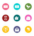 send a announcement icons set flat style vector image vector image