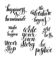 set of handwritten positive inspirational quotes vector image vector image