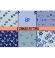 Set of six seamless patterns with blue flowers vector image