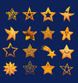 set shiny star icons in different style vector image