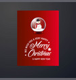 snowman ball with lettering merry christmas red vector image