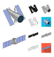space technology cartoonblackflatmonochrome vector image