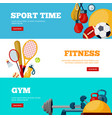 sport time flat web banners templates set vector image