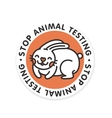 Stop animal testing rabbit isolated badge vector image