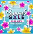 summer sale design with flower and exotic leaves vector image