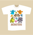 T-shirt print design cartoon cute monsters
