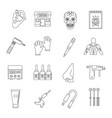 tattoo parlor icons set outline style vector image vector image