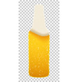 the form a bottle with beer foam and bubbles vector image