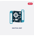 two color nautical map icon from nautical concept vector image