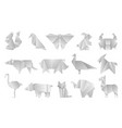 white origami animals geometric folded paper vector image