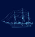 wrieframe an old sailing ship side view vector image vector image