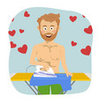 young man in love ironing his blue shirt for date vector image vector image