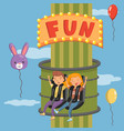 young people having fun on launched freefall vector image