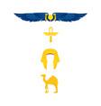 egypt symbols - winged sun ankh nemes and camel vector image