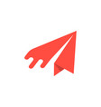 red paper airplane icon vector image