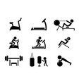 set of workout and gym machines icons vector image