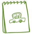 A green notebook with a car with kids at the cover vector image vector image