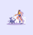 a young girl walks with a dog walk in park vector image