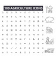 agriculture editable line icons 100 set on vector image vector image