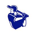 american baseball player batting side retro vector image vector image