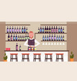 bartender using shaker making cocktails barman in vector image vector image