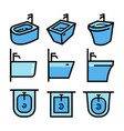 bidet color icon set in simple style isolated vector image