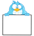 Blue Bird Presenting A Blank Sign vector image vector image